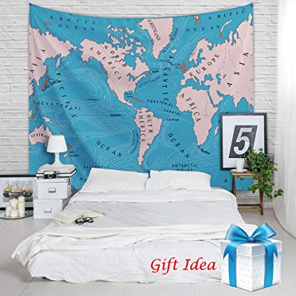 Amazon ocean current world map tapestry educational wall ocean current world map tapestry educational wall hanging retro beach blue backdrop college dorm gumiabroncs Images