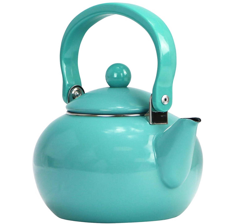 Calypso Basics by Reston Lloyd Enamel-on-Steel Tea Kettle, 2-Quart, Turquoise