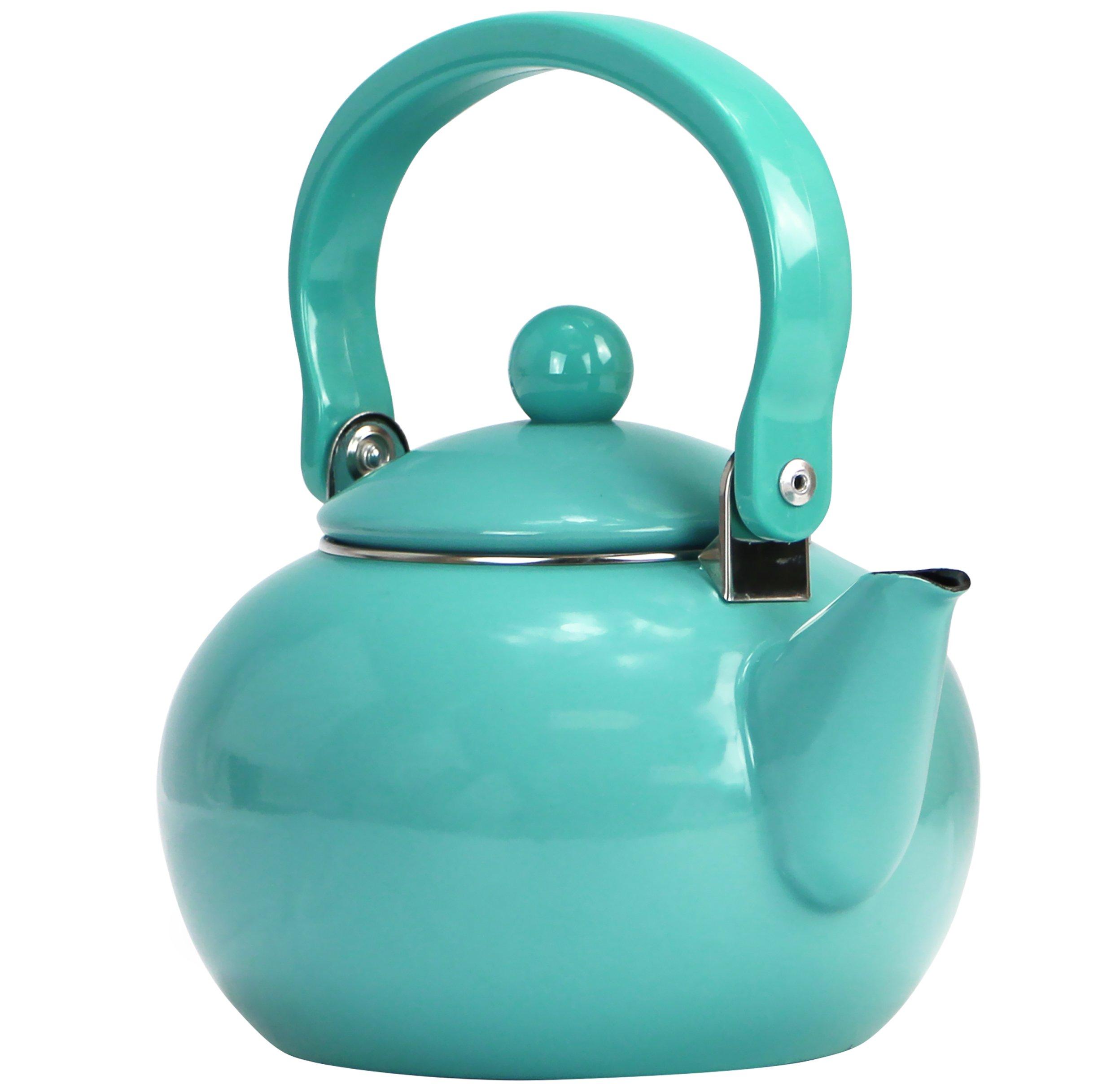 Calypso Basics by Reston Lloyd Enamel-on-Steel Tea Kettle, 2-Quart, Turquoise by Reston Lloyd