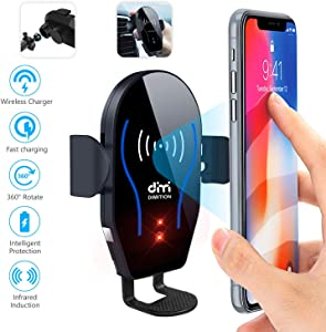 DM Car Phone Mount Air Vent Automatic Clamping Cell Phone Holder for Car Wireless Charger Compatible with iPhone Xs Max/XR/XS/X/8 Plus Samsung Galaxy S9/S8/S7/S6 Edge/Note5 & Other Smartphone