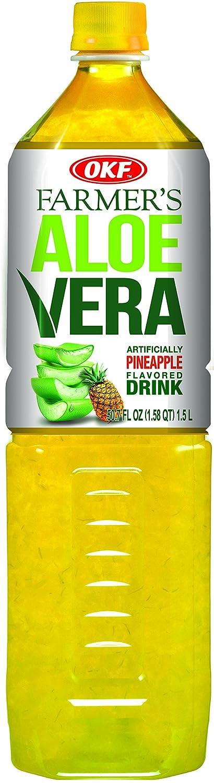 OKF Farmer's Aloe Vera Drink, Pineapple, 1.5 Liter (Pack of 12)