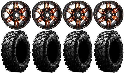 9 Items Bundle 4x156 Bolt Pattern 12mmx1.25 Lug kit MSA Black Diesel 14 UTV Wheels 30 Carnivore Tires
