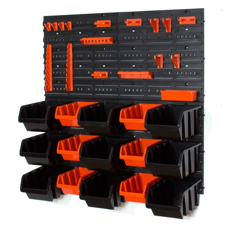 Set of 6 black M and 10 black L size IN-Box storage bins louvre Prosperplast