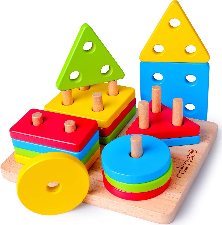 Rolimate Juguetes para Niños Pequeños Apilador Geométrico De Madera, Stack & Sort Board Tablero para Apilar y Clasificar, Juguetes Educativos Montessori Cumpleaños para Niños Niñas Bebés 2 3 4+ Añ