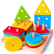 Rolimate Christmas Toy Wooden Educational Preschool Toddler Toy for 1 2 3 4+ Years Old Boy Girl Baby Shape Sorter Montessori Learning Sensory Toy Wooden Puzzle Christmas Birthday Gift Sorting Stacking