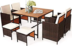 Tangkula 9 Pieces Wood Patio Dining Set, Space Saving Wicker Chairs and Wood Table with Umbrella Hole Outdoor Furniture Set, Suitable for Garden, Yard, Poolside, Outdoor Seating Set (White)