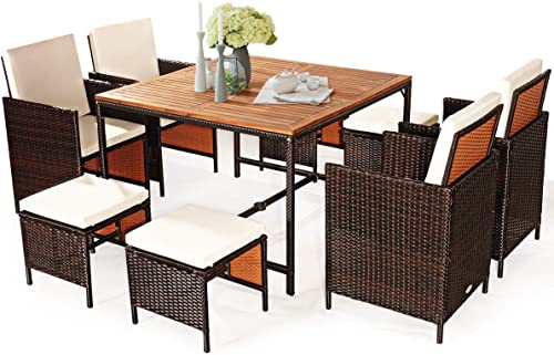 Tangkula 9 Pieces Wood Patio Dining Set