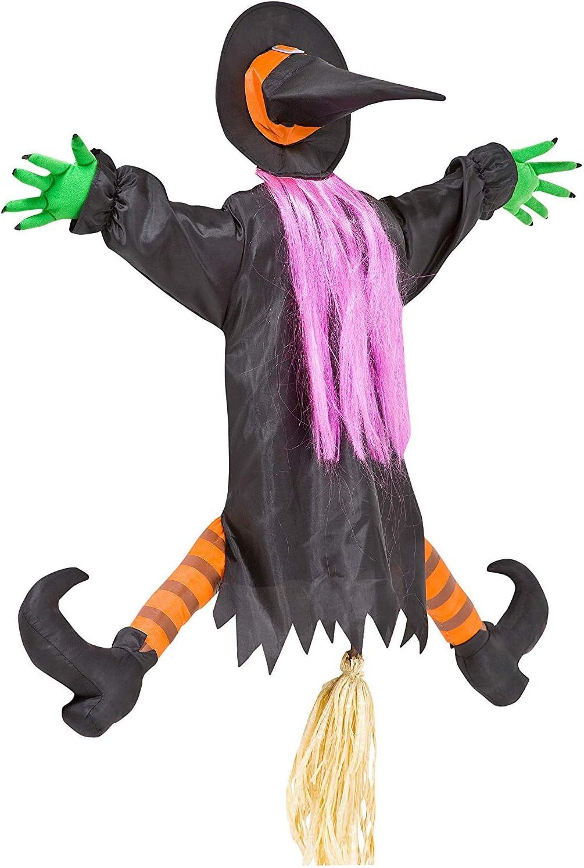 Hanging Flying Witch On Broom Ornament Halloween Party Welcome Door K7J4