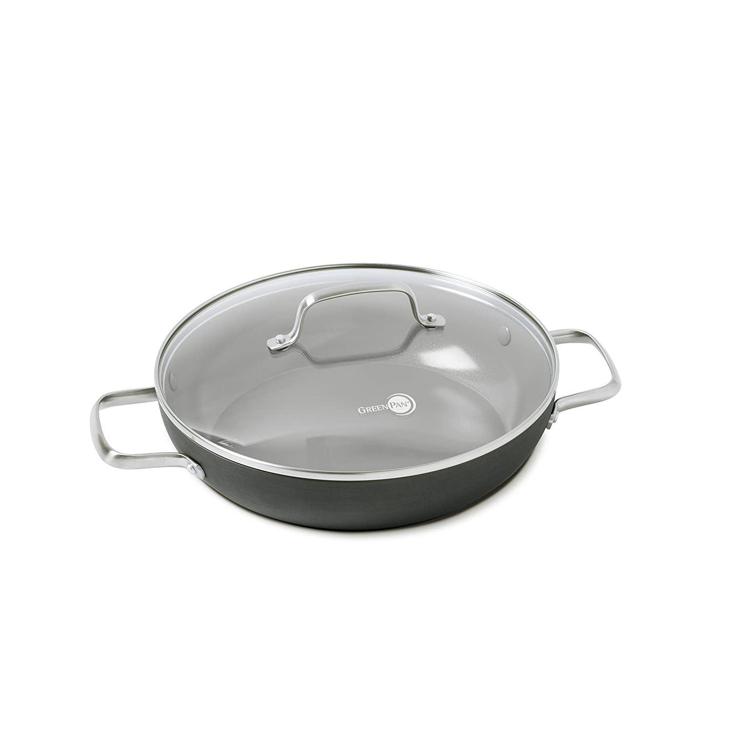"GreenPan Chatham 11"" ceramic Non-Stick Covered Everyday Pan with 2 Helpers, Grey"