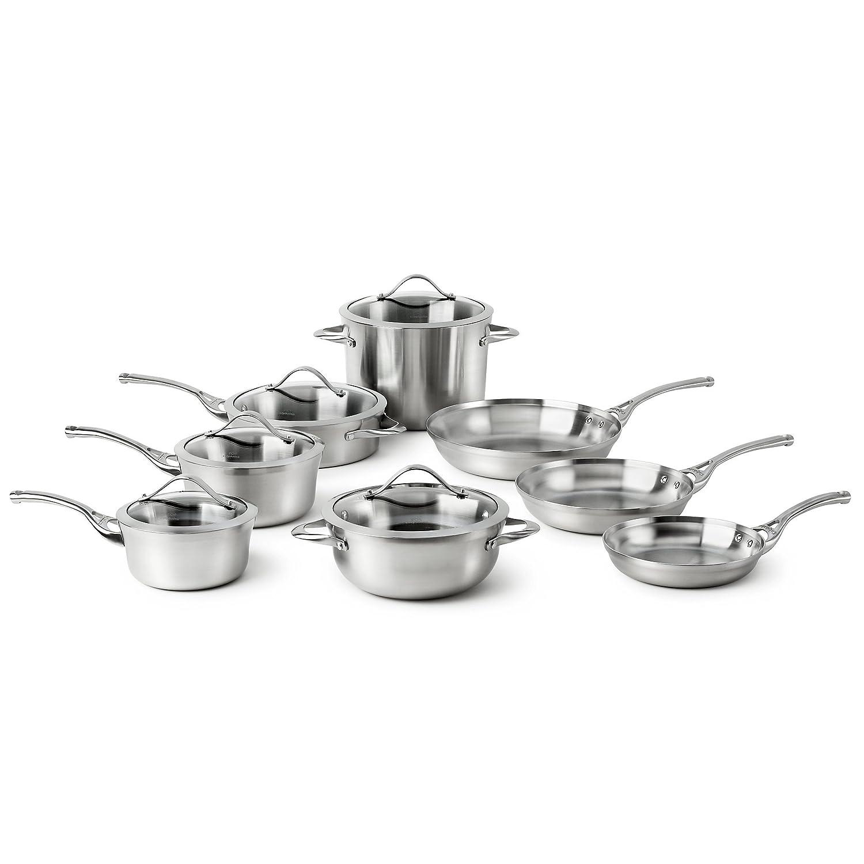 Amazon.com: Calphalon Contemporary Stainless 13-Piece Cookware Set ...