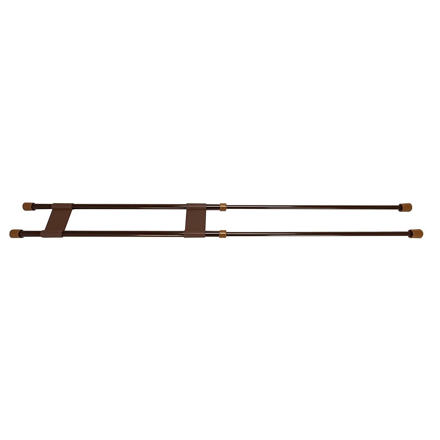 "Camco 34"" Double RV Refrigerator Bar, Holds Food and Drinks in Place During Travel, Prevents Messy Spills, Spring Loaded and Extends Between 19"" and 34"" - Brown ( 44078)"