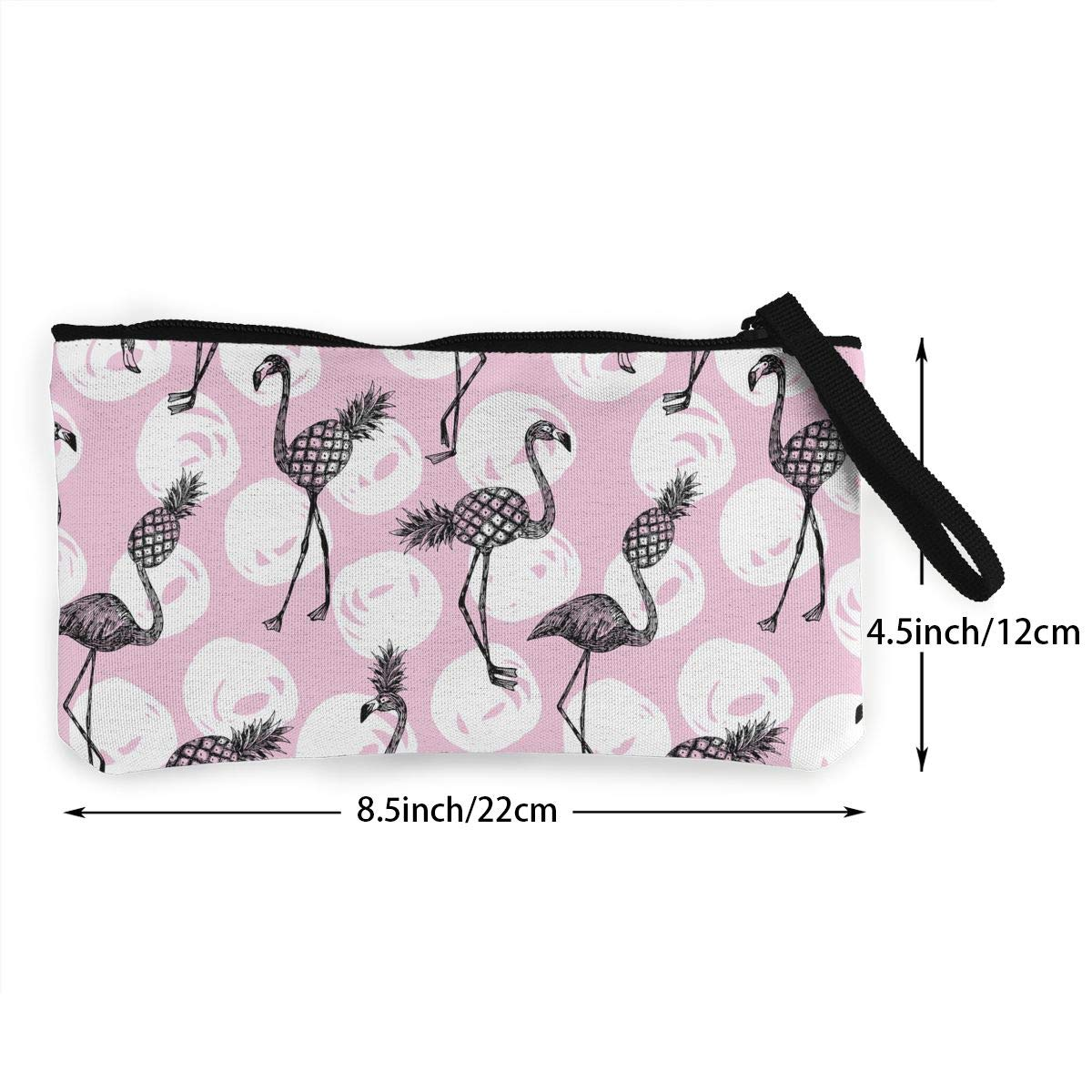 Bk55Oi/&/& Womens Retro Coin Purse Flamingo and Pineapple Pattern Canvas Card Wallet with Zipper for Women