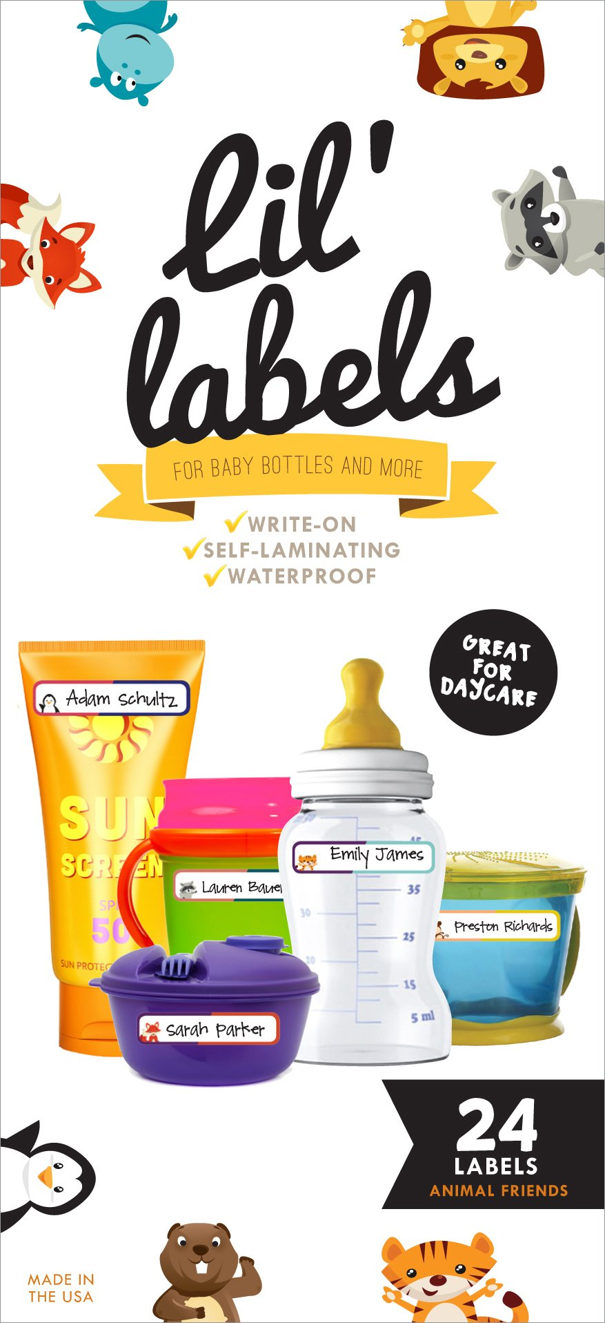 Bottle Labels, Write-On, Waterproof Labels for Baby Bottles for Daycare, 2 Bonus Gifts (Animal Friends)