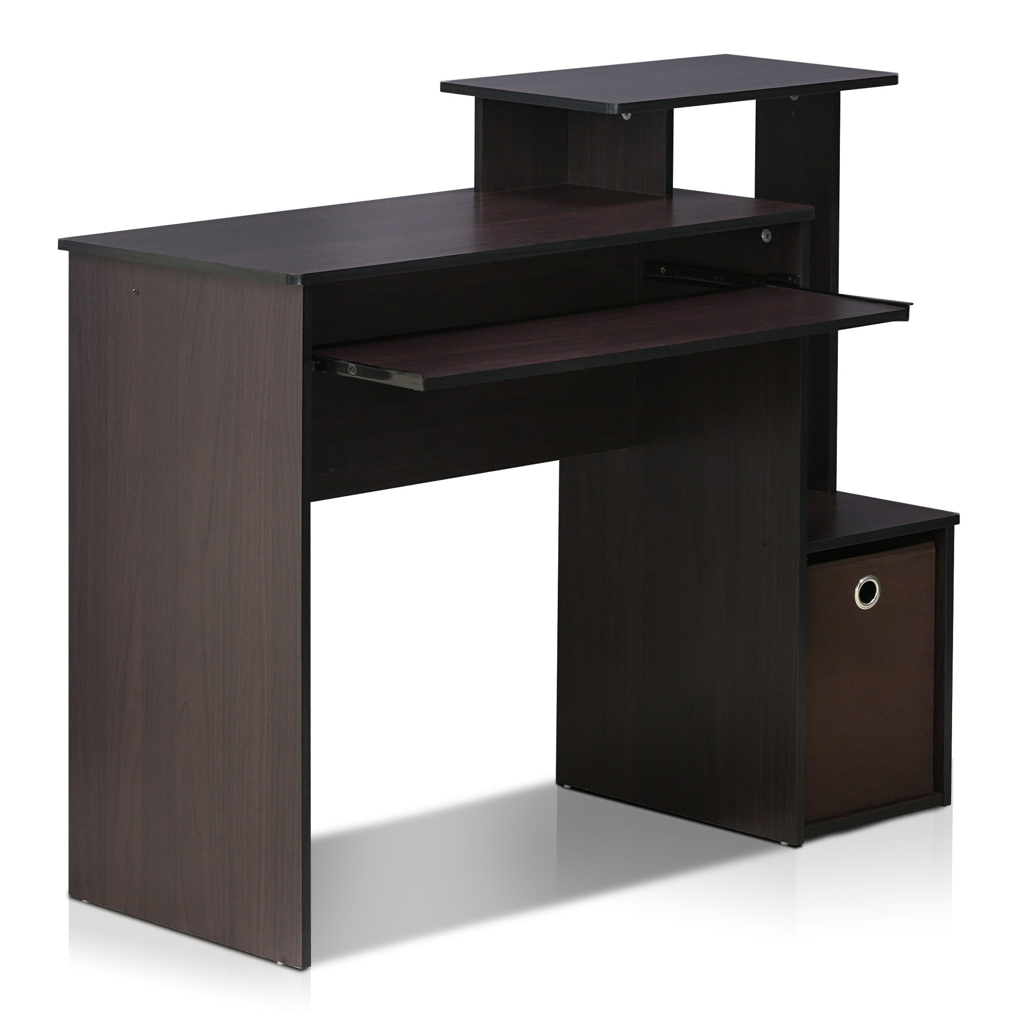 Simple Stylish Design Multipurpose Home Office Computer Writing Student Desk in Dark Walnut Finish