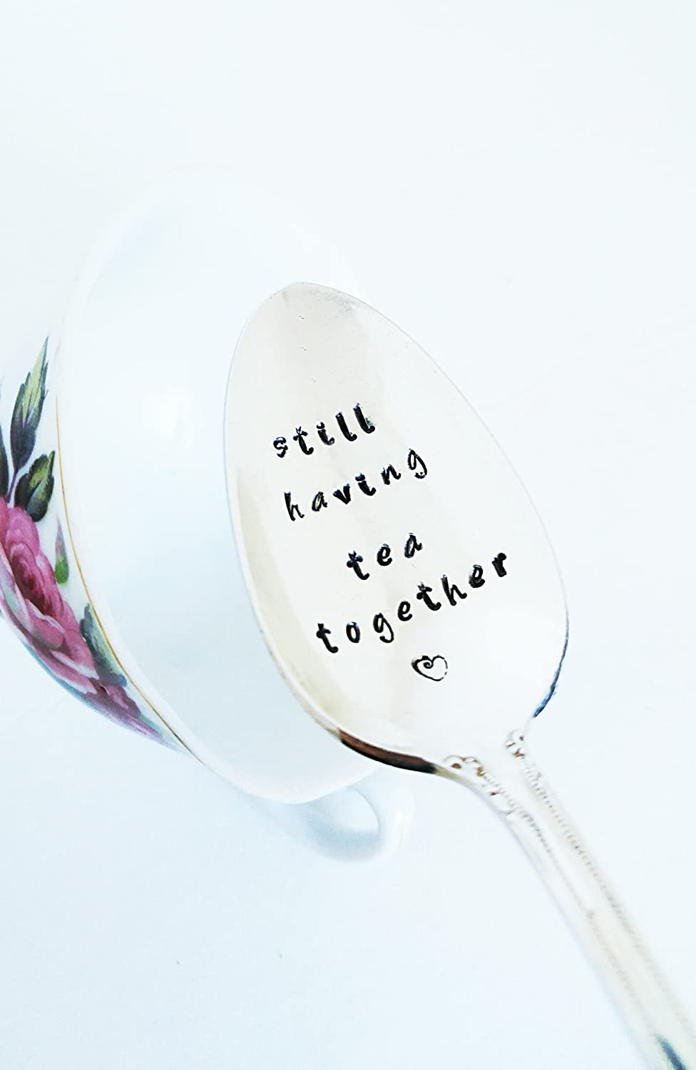 Still Having Tea Together Hand Stamped Spoon Best Friend Engraved Teaspoon Anniversary Gift