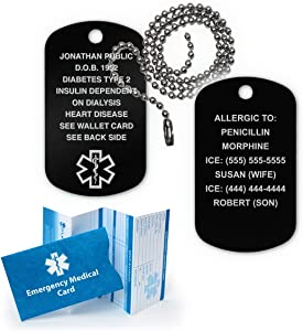 """Medical Alert ID Dog Tag Anodized Aluminum w. 27"""" Chain. Incl. 18 Lines of Engr. - Black"""