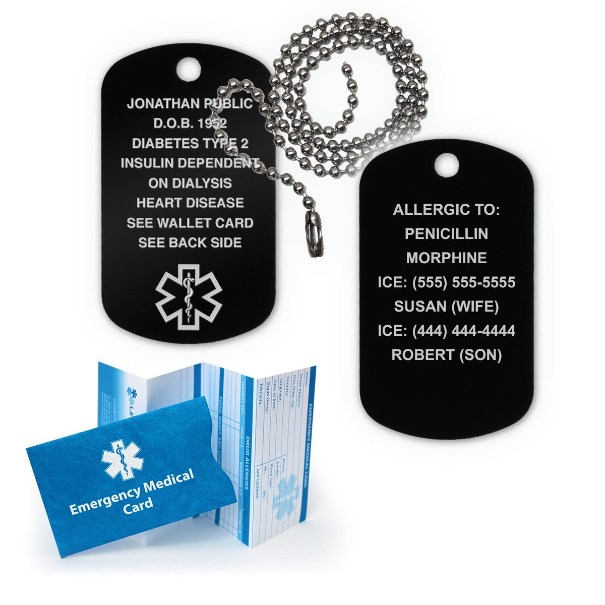 Medical Alert ID Dog Tag Anodized Aluminum w. 27'' Chain. Incl. 18 Lines of engr. - BLACK