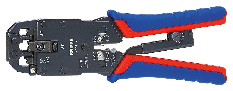 KNIPEX 97 51 12 Crimpzange f/ür Westernstecker br/üniert mit Mehrkomponenten-H/üllen 200 mm