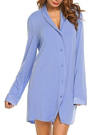 6d9d81f3ec75b5 Nachthemd T-Shirt Damen Still Pyjama Nachtwäsche Lange Hülsen  Schlafanzugoberteil Schwangere Schlafkleid blau