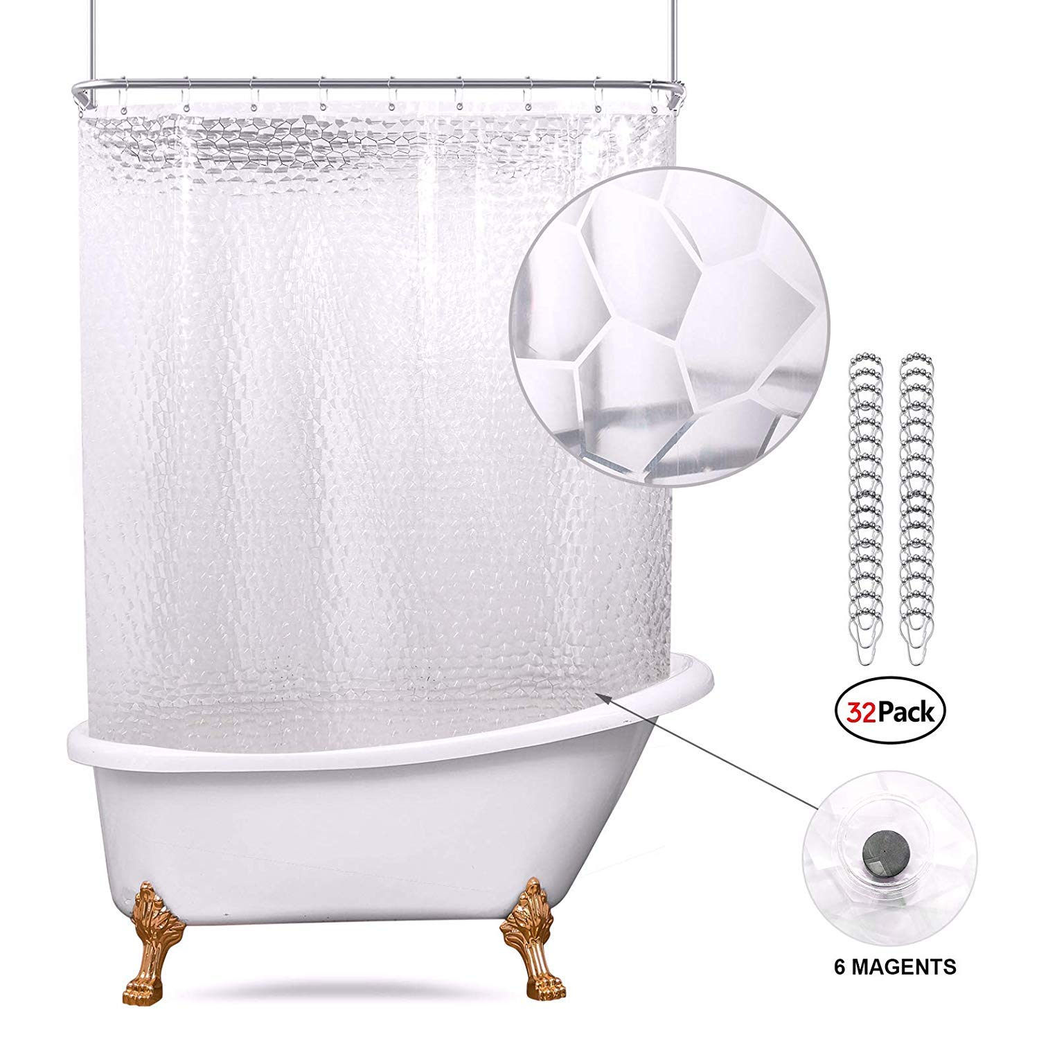 Riyidecor Clear Water Cube 180x70 Inch Shower Curtain Panel with Magnets Clawfoot Tub Bathroom Decor PEVA Vinyl Set All Wrap Around 32 Pack Metal Shower Hooks Extra Wide