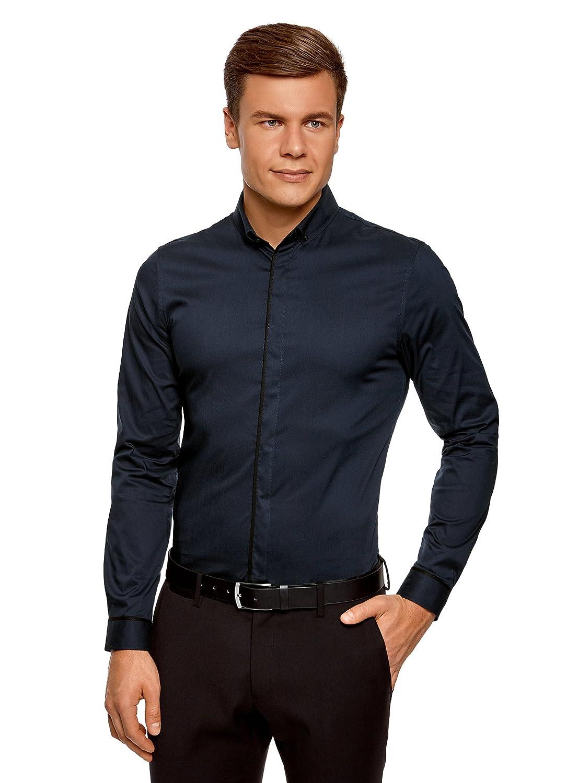 oodji Ultra Hombre Camisa Básica con Acabado en Contraste