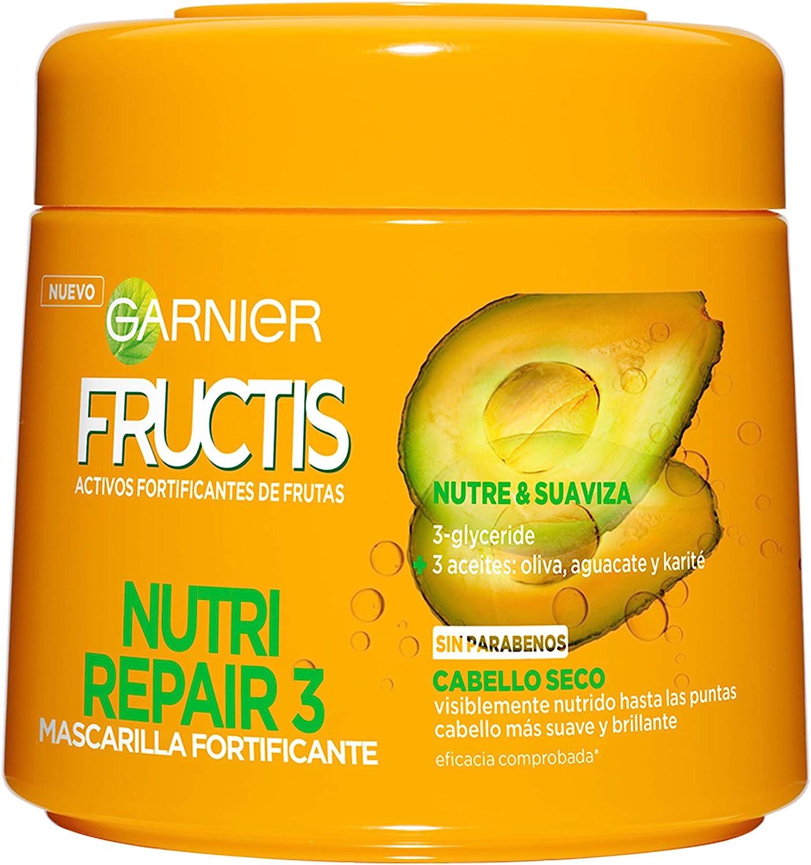 Garnier Fructis Nutri Repair 3 Mascarilla Fortificante que Nutre y Suaviza, con 3-Glyceride y Aceites de Oliva, Aguacate y Karité - 300 ml