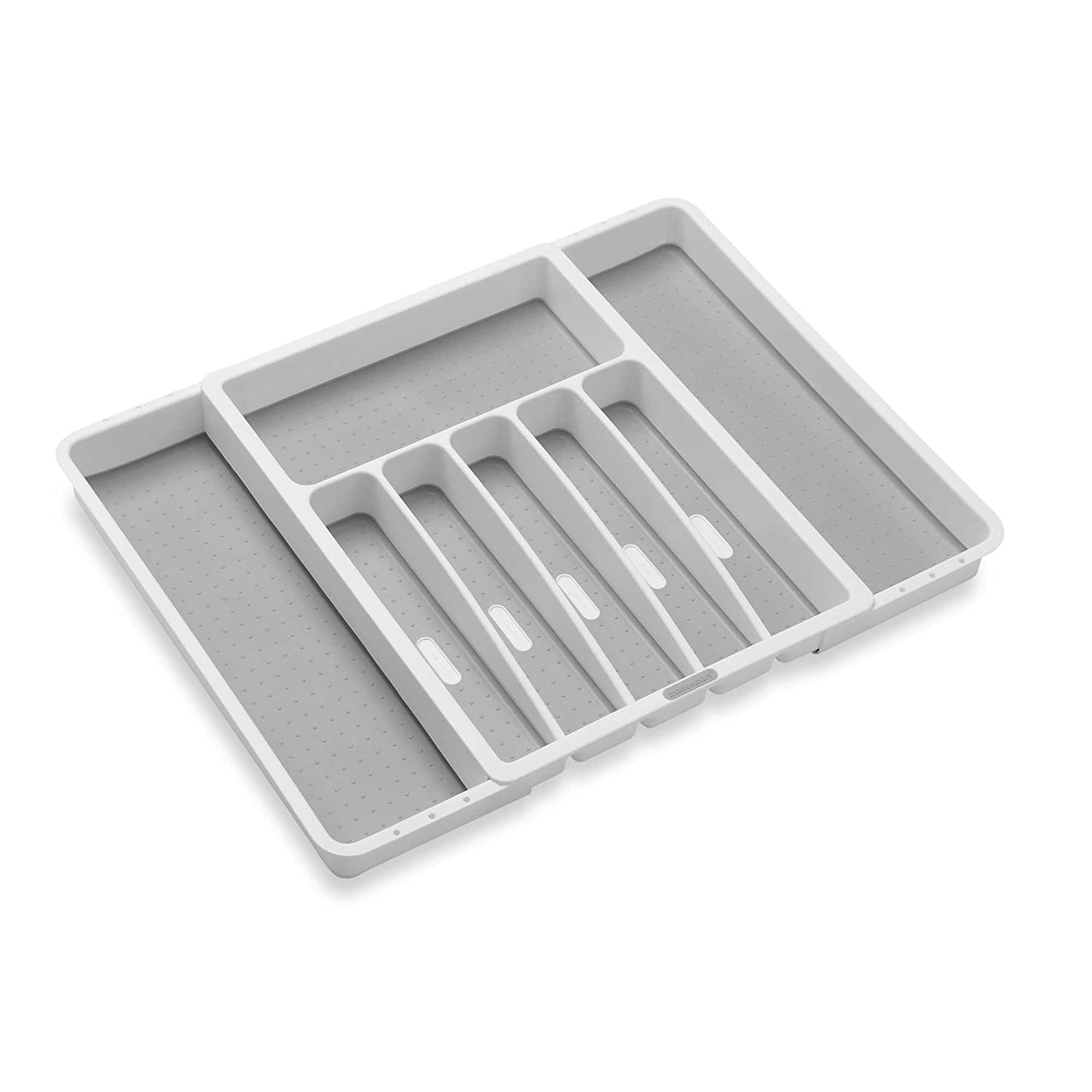 Expandable Cutlery & Silverware Tray in White/Grey … (Expandable Silverware Tray - White Grey)