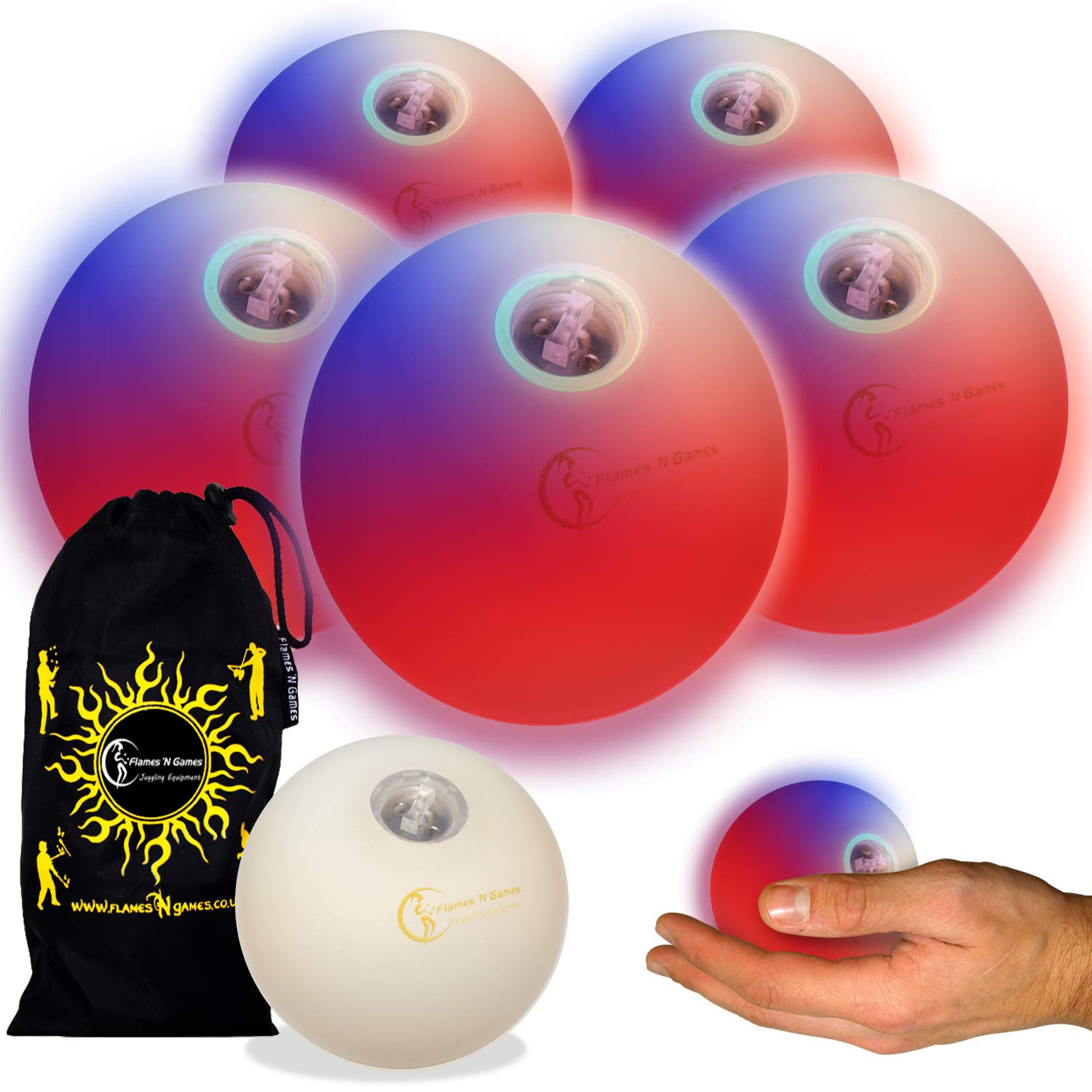 Flames N Games Pro LED Glow Juggling Balls 5X (Fast Strobe RGB Effect) Ultra Bright Battery Powered Glow LED Juggling Ball Set with Travel Bag. (Set of 5)