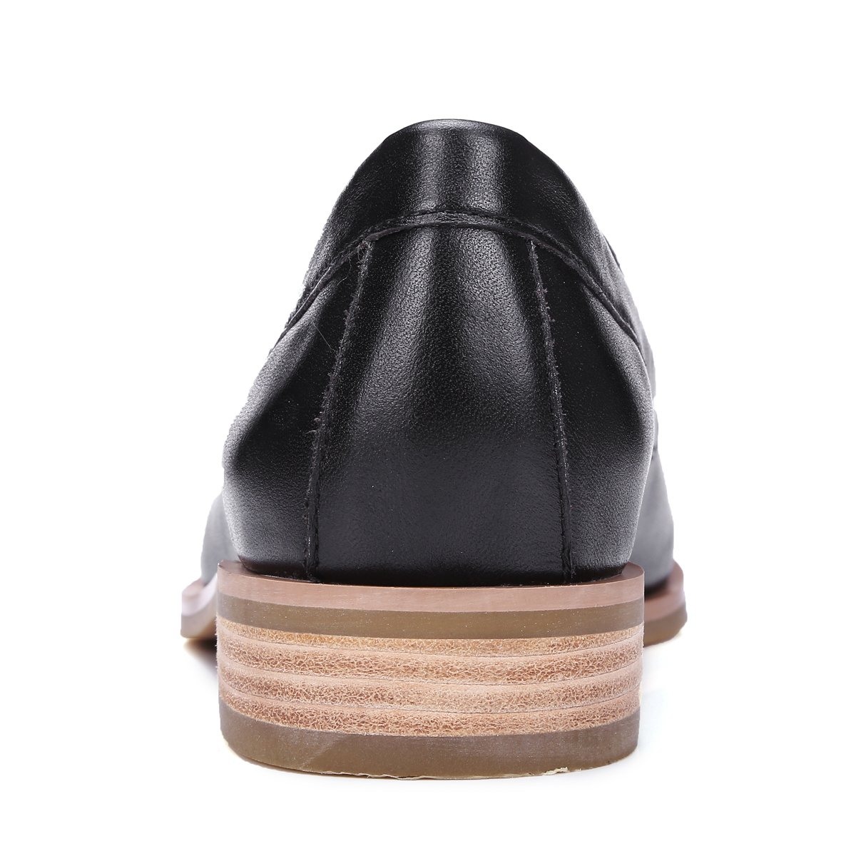 ONEENO Loafers for Women Comfort Casual Slip on Low Heel Cowhide Leather Flat Shoes Black Size 9 US by ONEENO (Image #5)