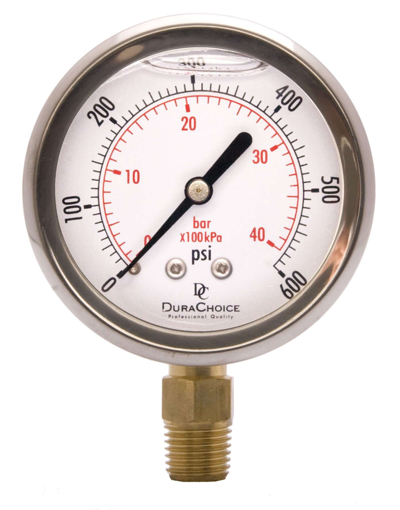 2-1/2'' Oil Filled Pressure Gauge - Stainless Steel Case, Brass, 1/4'' NPT, Lower Mount Connection 0-600PSI