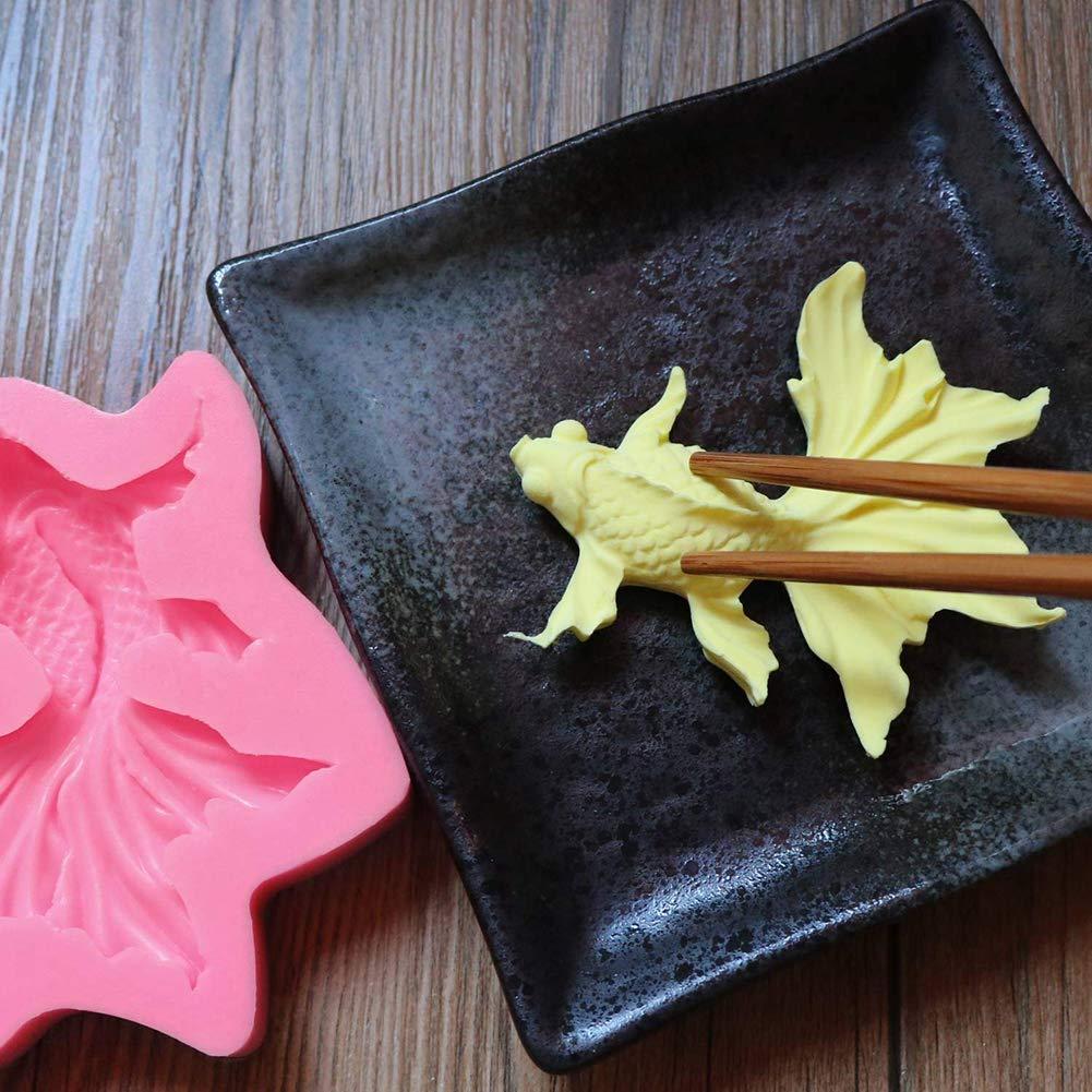 DGDJ Seifenformen Beasea Fischform Realistische Silikonform DIY Karpfenform Dr/ücken Kuchen Dekorieren Pralineform Rosa