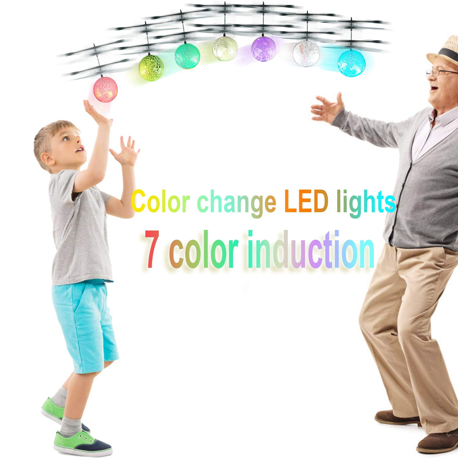UTTORA Flying Ball, Kids RC Flying Toys Infrared Induction Helicopter Ball Kids Gadgets Mini Drone Flying Toys Built-in 7 Color Changing LED Lights for Kids Adults