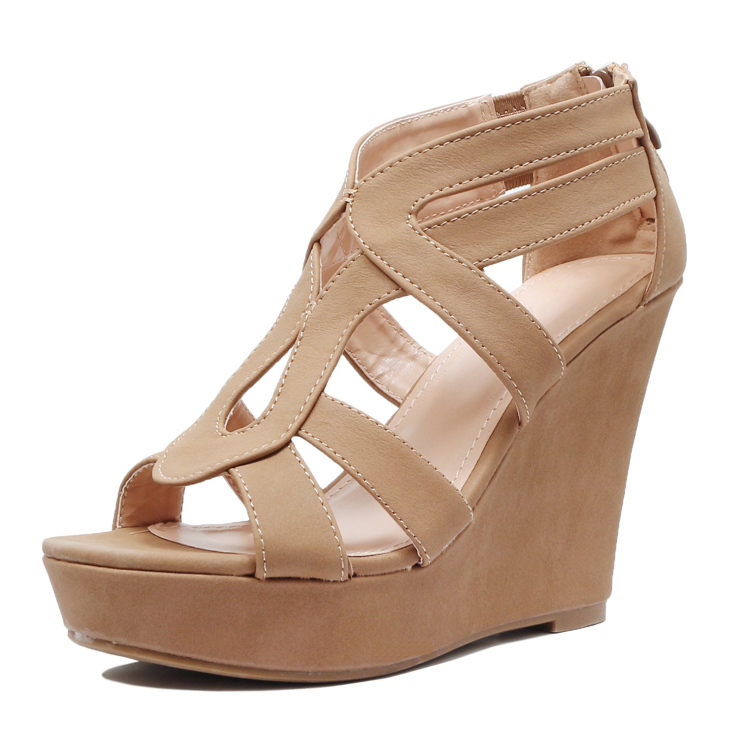 Guilty Shoes - Womens Gladiator Strappy Open Toe Comfort Platform Wedge Sandals (6 B(M) US, Tanv2 Pu)