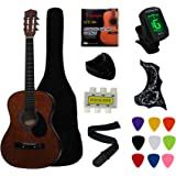 """YMC 38"""" Coffee Beginner Acoustic Guitar Starter Package Student Guitar With Gig Bag,Strap, 3 Thickness 9 Picks,2…"""