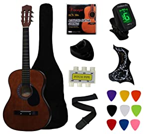"YMC 38"" Coffee Beginner Acoustic Guitar Starter Package Student Guitar With Gig Bag,Strap, 3 Thickness 9 Picks,2 Pickguards,Pick Holder, Extra Strings, Electronic Tuner -Coffee"