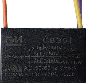 Ventilador de techo condensador CBB61 4.5uF + 5UF + 6uF 4 alambre ...