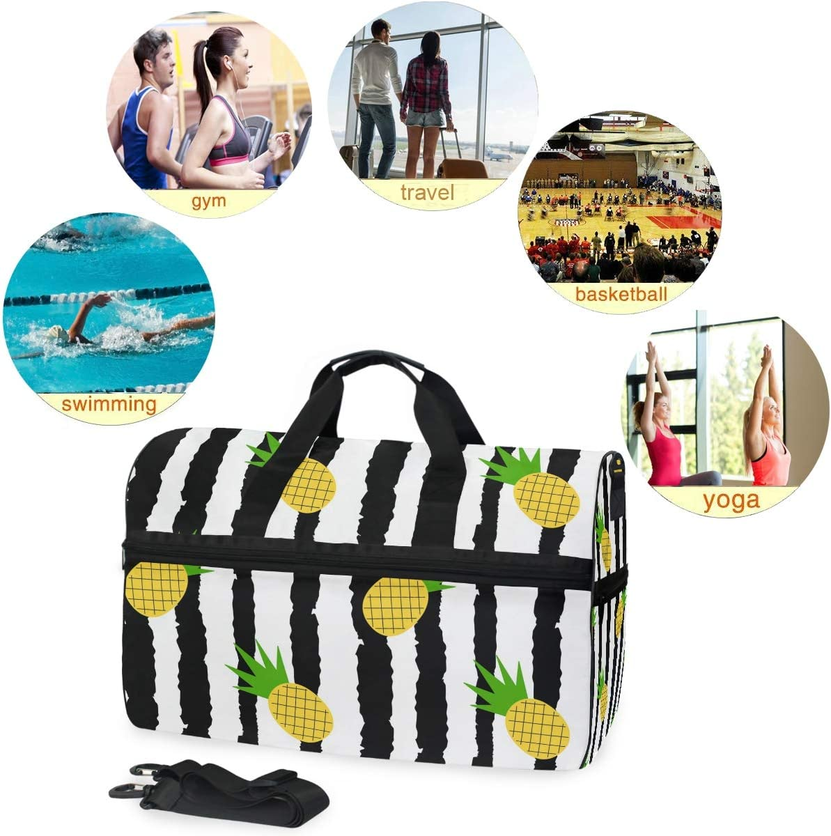 WIHVE Gym Bag Tropical Pineapple Stripes Travel Duffel Bag with Shoe Compartment