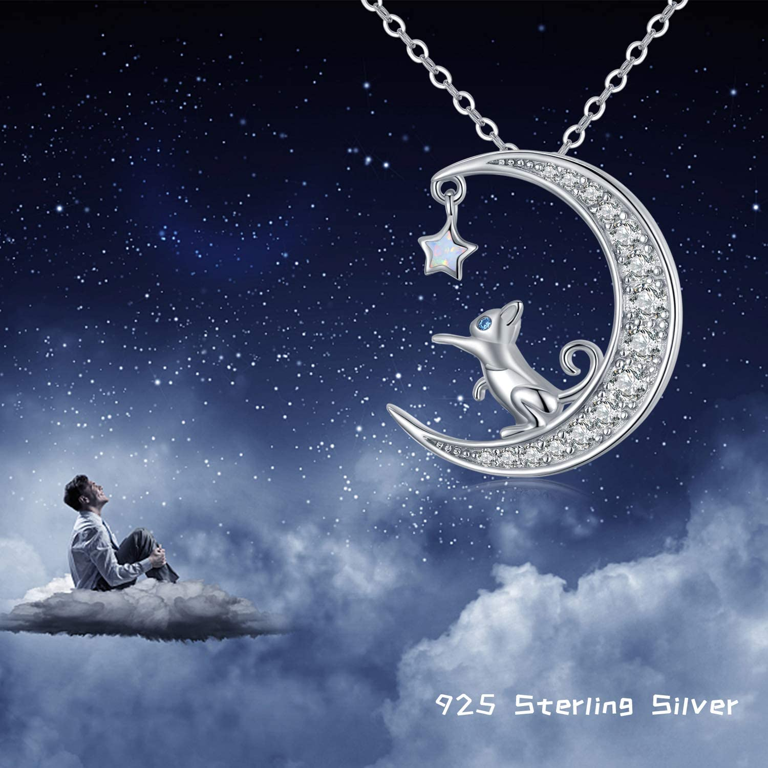 Moon Pendant Necklace with Opal Star Light Dainty Infinite Love Y-Necklace,Moon Cat Necklace TRISHULA 925 Sterling Silver Forever Love Sparkling Crescent Jewelry Gift for Women Girls,Teen