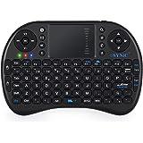 ESYNiC Mini Retroiluminado Teclado Inalámbrico de Diseño Español 2.4GHz Android Teclado Ergonómico con Ratón Touchpad para Smart TV Mini PC Android TV Box PlayStation Xbox HTPC PC Raspberry Pi 3 - Negro