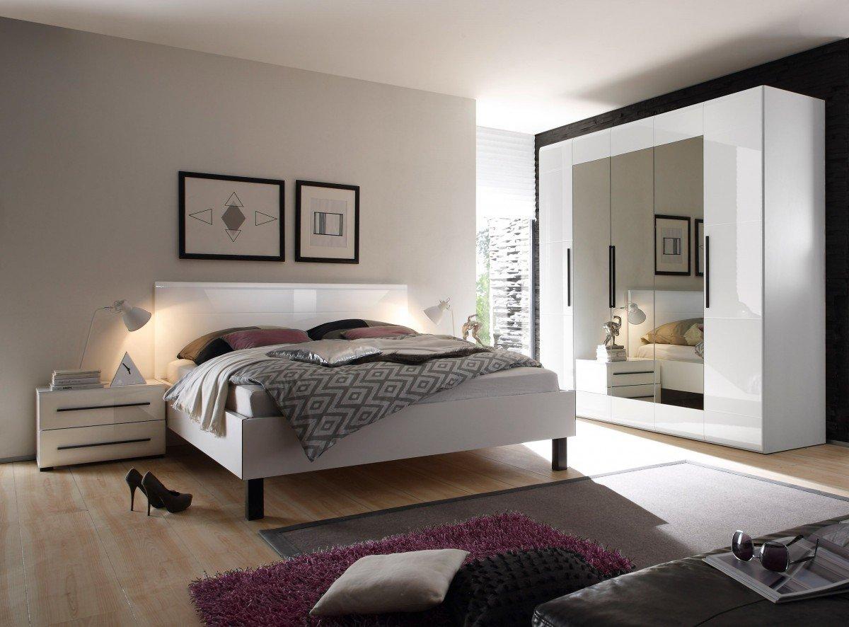 Dreams4Home Schlafzimmer Set 'Marron' - Kleiderschrank, Schrank, 5 trg. Kleiderschrank, mit Spiegel, 2xNaKo´s, Bett 180x 200 cm, 4 kl. Einlegeböden,2 gr. Einlegeböden,ohne Matratzen, ohne Lattenrost, weiß Hochglanz, tiefgezogen
