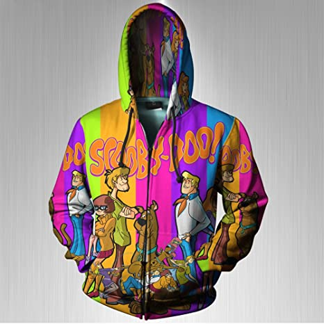 Scooby Doo Color Full Print Sublimation Men Zipper Hoodie sizes  S to 3XL  (Small 52525eb43