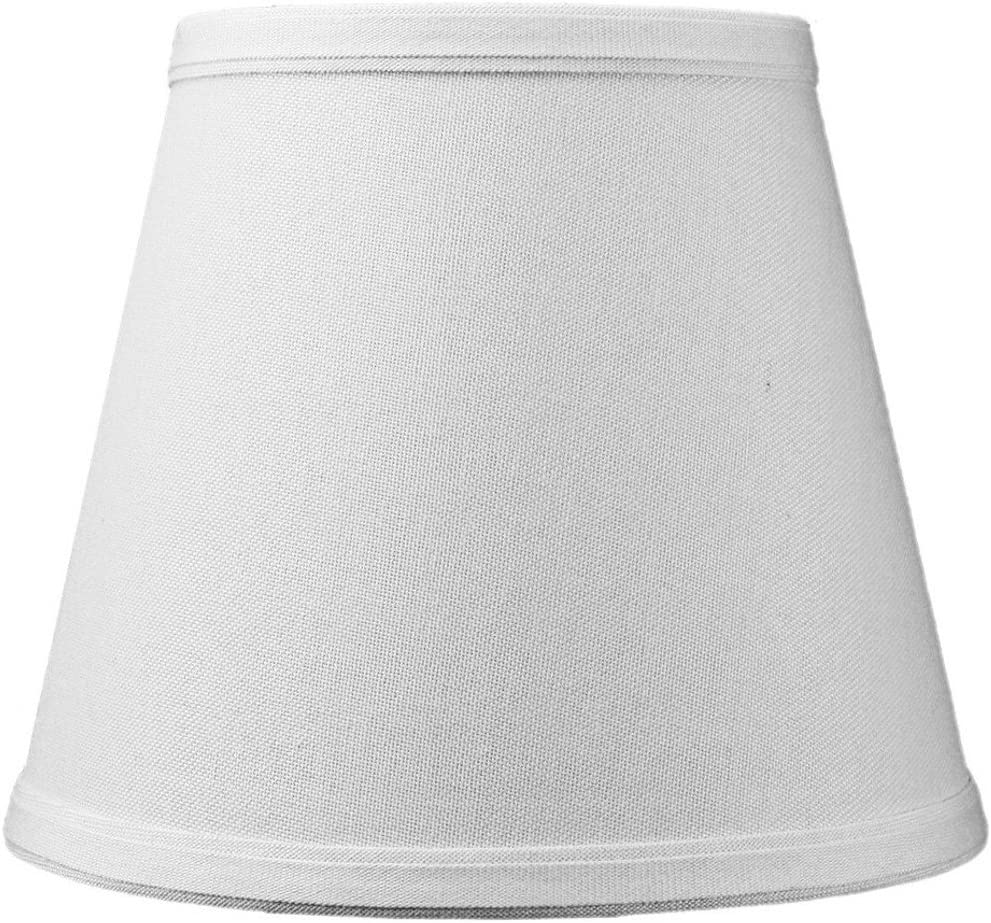 5 x8 x7 Empire Light Oatmeal Linen Fabric Clip-On Lampshade, Fits Regular Edison bulbs Hardback lamp shade with Fabric Liner and Dual Clip
