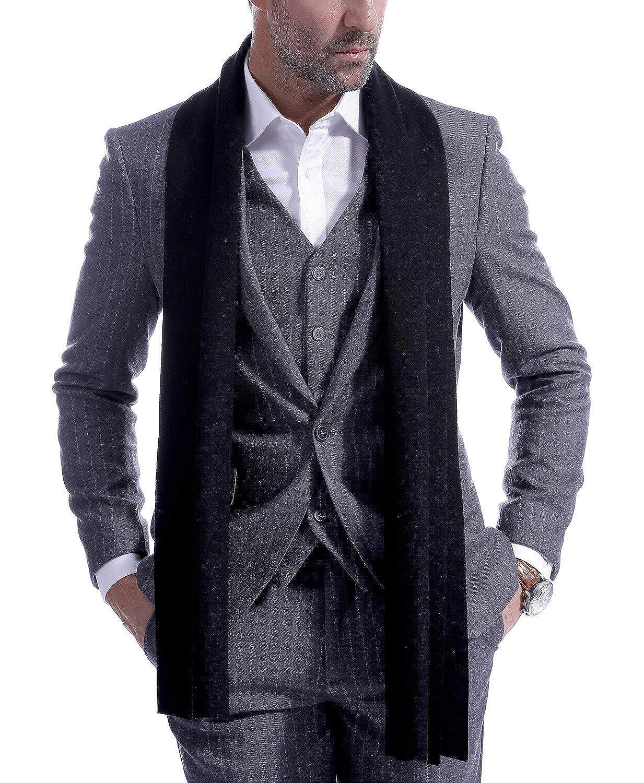 Men's Scarf Cashemre Scarves for Men Long Winter Knit Neckwear 70.8IN 11.8IN Vextrofort Fashion Cashmere Wool Winter Scarves for Men Long Cold Weather - Black