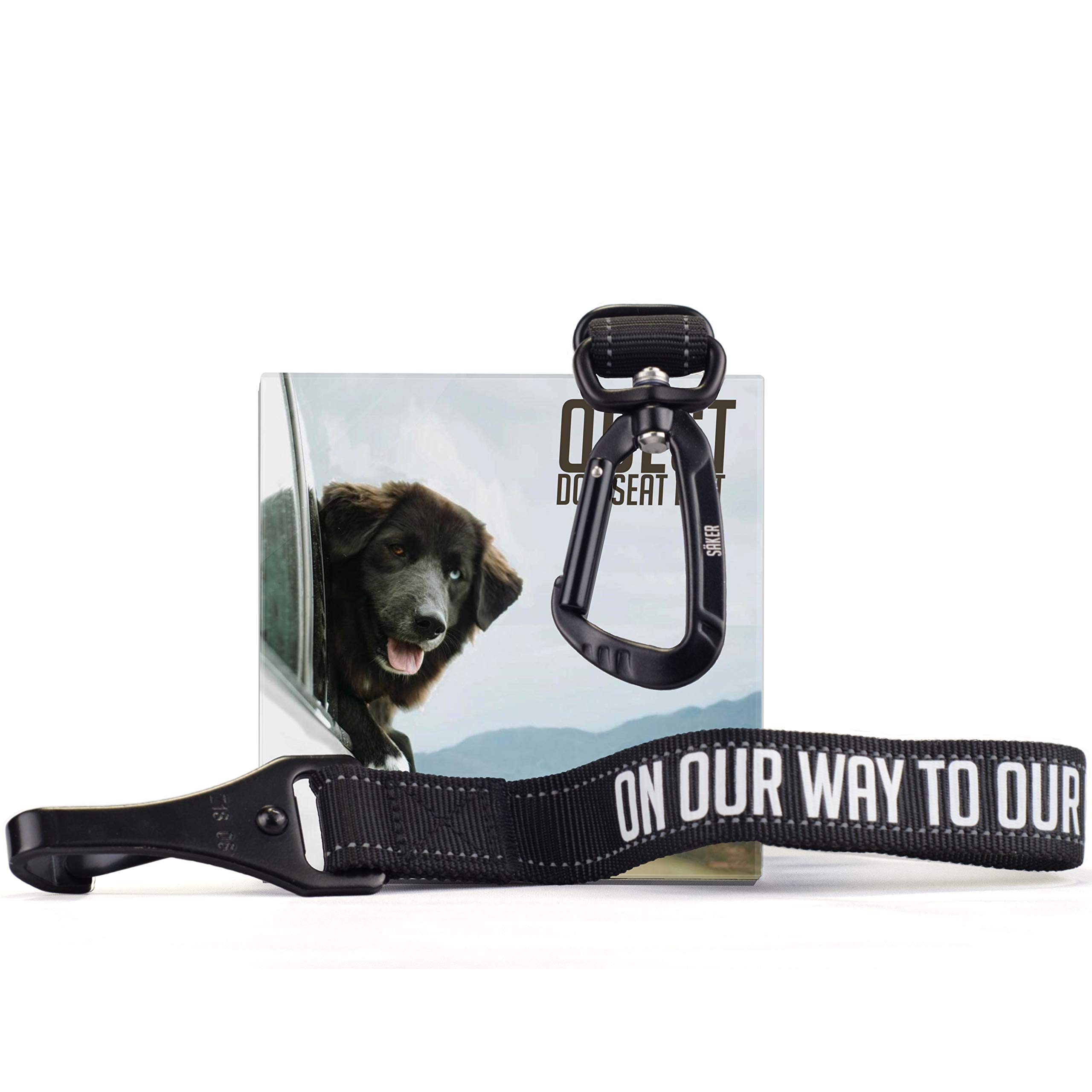 Säker Dog Seat Belt with Heavy Duty Carabiner, Premium Canine Safety Belt Adjustable Length from 21 to 32 inches, Car Seatbelt for Most Dog Breeds, Universal Compatibility with Any Dog Harness by Säker