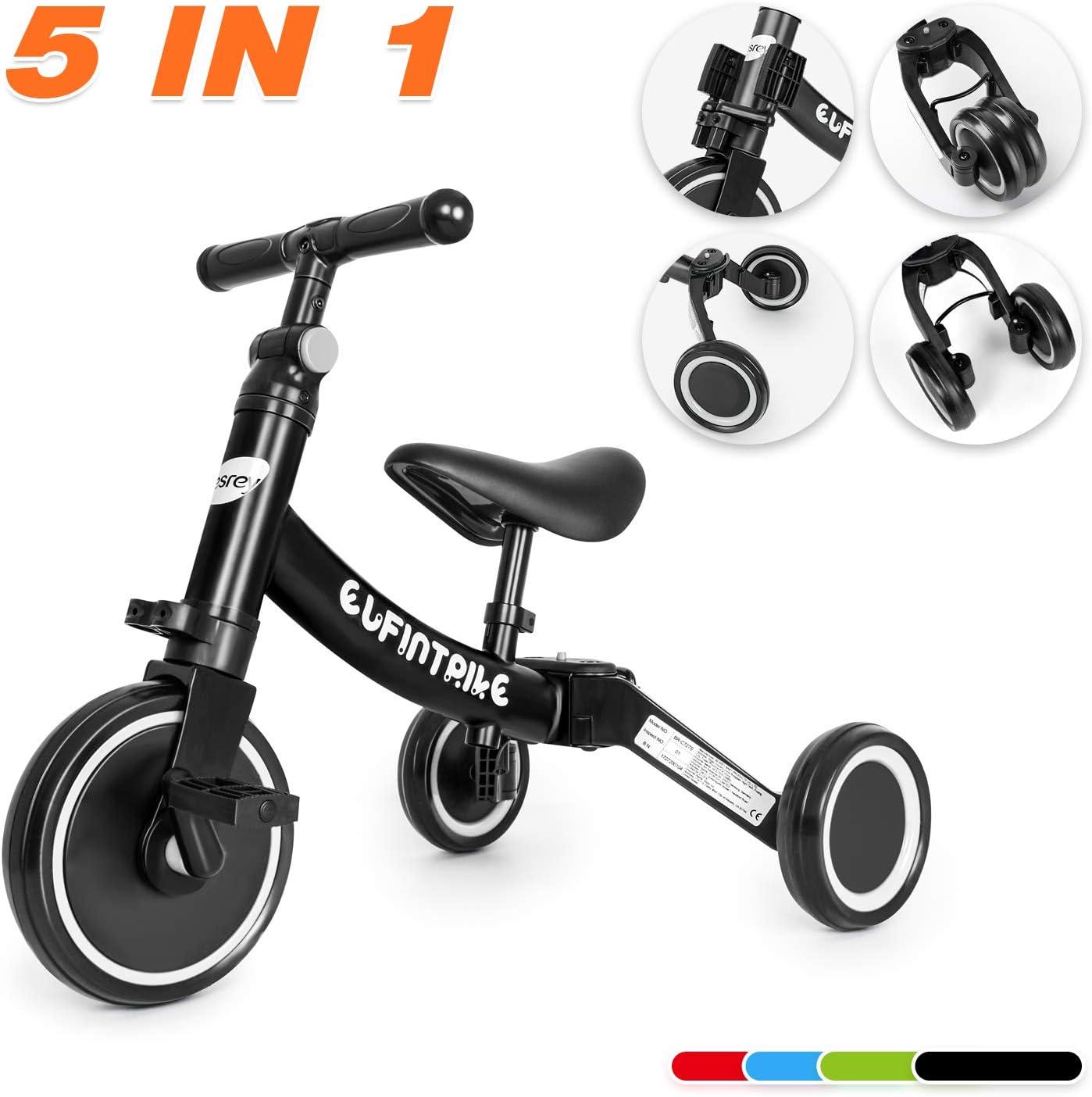 besrey Tricilos para Niños, 5 en 1 Un Bici polivalente, Triciclo & Bicicleta & Carro de Equilibrio & Caminante, 2.8kg Ligero y portátil, Adecuado para niños de 1.5-4 años (Negro Elegante)