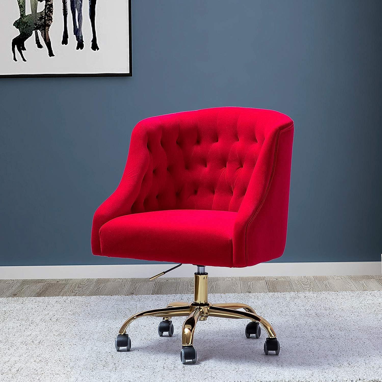 Mid Century Modern Tufted Velvet Task Chair for Home Office - Red