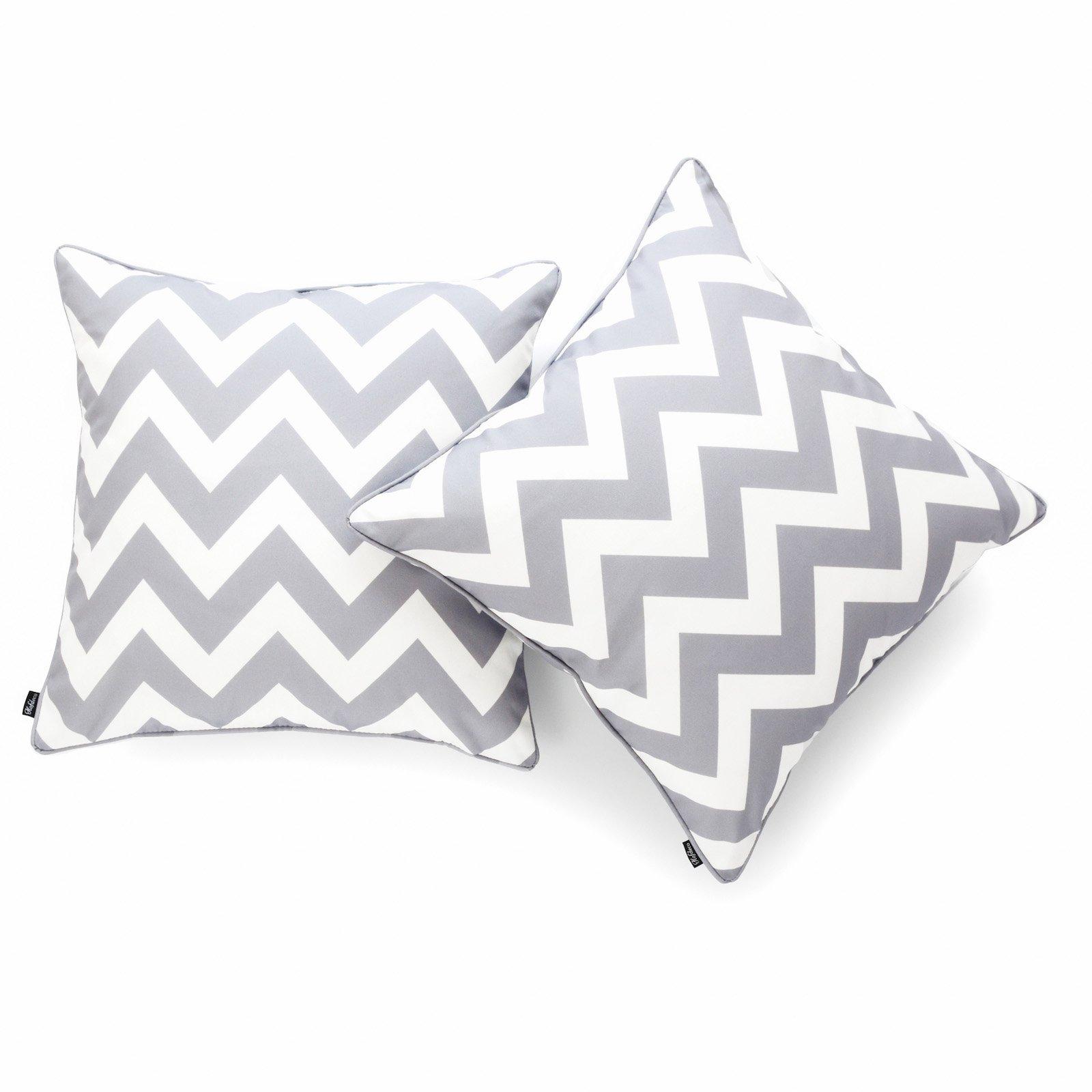Hofdeco Decorative Throw Pillow Cover INDOOR OUTDOOR WATER RESISTANT Canvas Modern Grey Zigzag Chevron 18''x18'' Set of 2