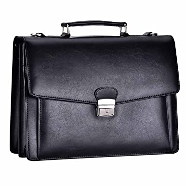 d85a4a7a50 RUNWINDY Mens Leather Briefcase Cowhide HandBag with Lock (Black)