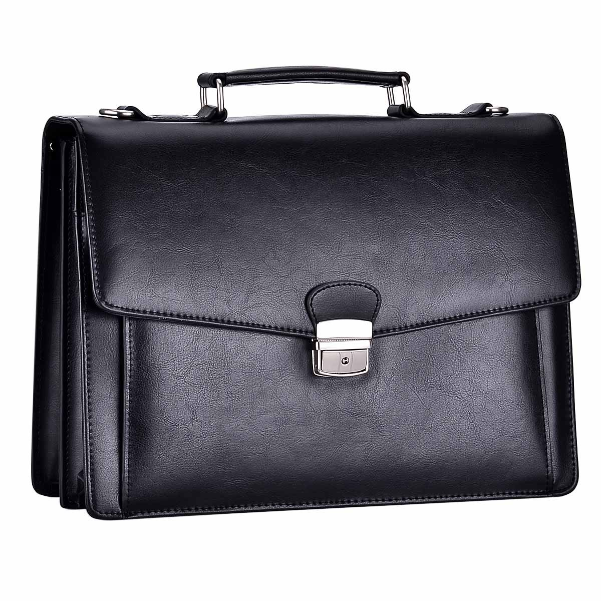 RUNWINDY Mens Leather Briefcase Cowhide HandBag with Lock (Black)