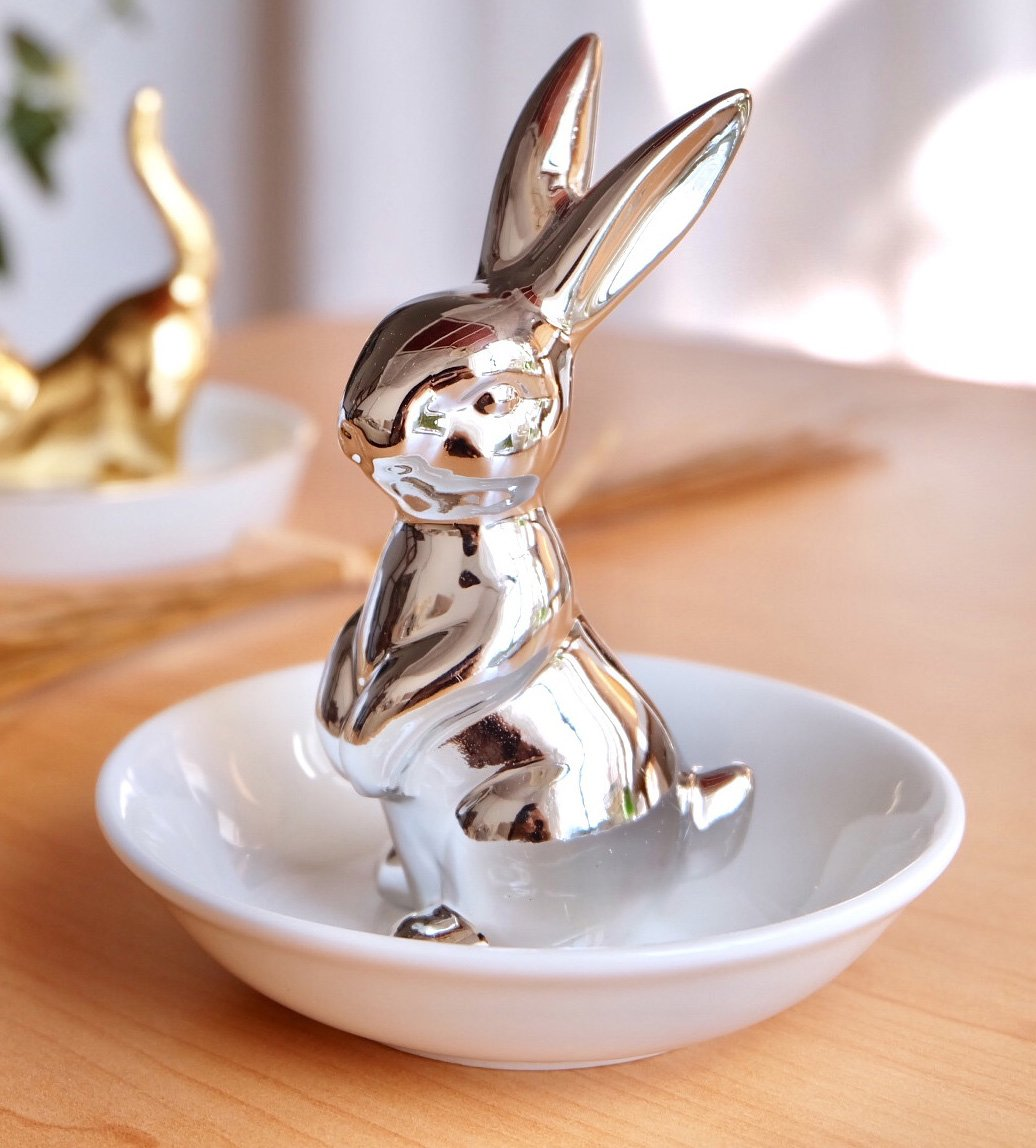 Sliver Bunny Rabbit Ring Dish Holder Jewelry Tray Earring Necklace Bracelet Display Organizer